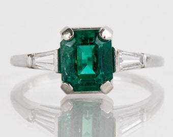 Vintage Ring - Vintage 18k White Gold Gem Quality Emerald and Diamond Ring