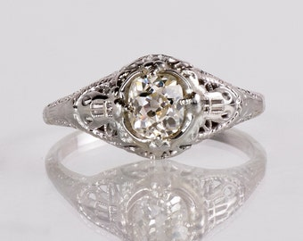 Antique Engagement Ring - Antique 1920s 18K White Gold Diamond Engagement Ring
