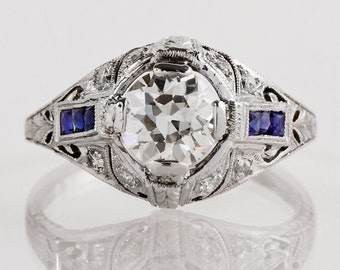Antique Engagement Ring - Antique Art Deco Platinum Diamond and Sapphire Engagement Ring