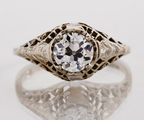 Antique Engagement Ring - Antique 14k White Gold and Diamond Engagement Ring
