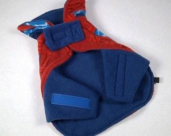 SPIDERMAN Capelet Soft Fleece Dog Coat - EXTRA SMALL - Adjustable with Velcro, Lined, Polar Fleece, 2-layer