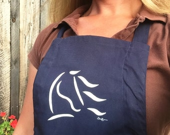 "Horse Grooming Apron, ""Spirit Horse"" Equine Design by Sandra Beaulieu, Horse Gift, Horse Show Apron, Kitchen Apron, ECO, Horse Holiday Gift"