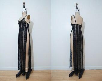 1990s sheer slip dress | Vintage 90s lace sexy high slit lingerie dress