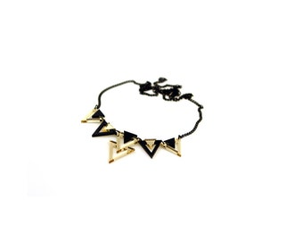 Geometric 80's Style Statement Necklace, Triangle Necklace, Black and Gold Color