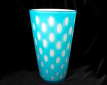 Vintage Vase - Blue Dot Vase, Mid Century Vase, Milk Glass Vase, Retro Vase, Modern Mid Century Vase, Aqua and White Glass Vase