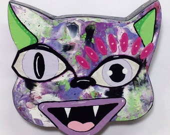 Outsider Folk Art Cat Head, Happy Cat #12, Comical Hand Painted Cat Wall Hanging, Abstract Cat Wood Wall Art, Outsider Cat by Windwalker Art