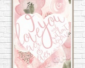 Love Hand Lettering Artwork - Instant Download - John Keats Quote - Pink, Blush, Hearts, Floral, Digital, Watercolor