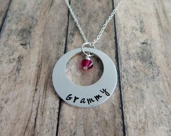 Grammy Hand Stamped Custom Washer Necklace with Swarovski Crystal Birthstone  - Grandmother - Mother's Day Gift