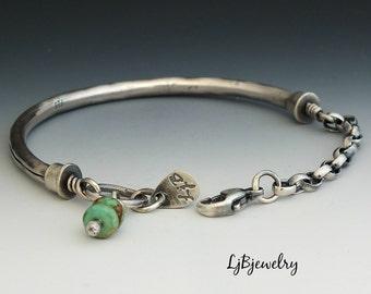 Silver Bangle, Silver Bracelet, Turquoise, Sterling Silver, Metalsmith Bracelet, Handmade