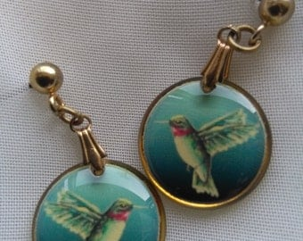 Vintage bird dangle earrings