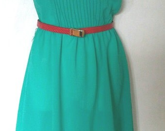Vintage eighties Acqua green sleevelss dress size small