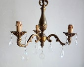 Reserved for S .... Vintage Large FRENCH CEILING CHANDELIER, 3 Stem Brass Chandelier with Hanging Crystals. Chateau Prism Lamp.