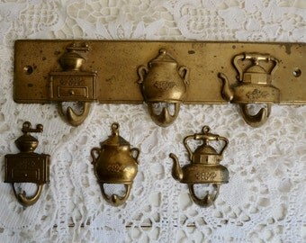 Vintage KITCHEN RACK, plus 3 individuel HOOKS, French Brass Tea Towel Hanger with 3 Pegs. Coffee Mill, Sugar Pot and Water Kettle.