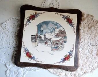 Vintage French WOOD CERAMIC TRIVET, French Tile Trivet with Winter Scenery, Obernai Sarreguemines, Signed H. Loux.