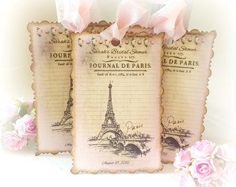Paris Bridal Shower Custom Favor Tags, Eiffel Tower Tags, Personalized, Baby Shower Tags, Cottage Chic, Shabby Pink, Quincieñera, Set of 12