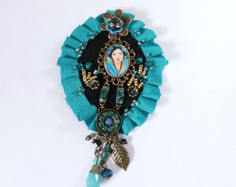 Brooch romantic , textile, blue,black,portrait,beads embroidery.