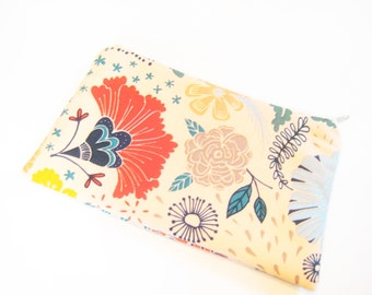 Floral Cosmetic Bag, Zippered Pouch, Gadget Accessory, Cell Phone Pouch