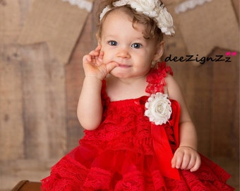 Petti-Lace-Rustic-Dress-Baby-Red-Girls -Ruffles-Posh-1st Birthday-Outfit-Baby Outfit-Flower Girl-Country-Barn-Wedding-Christmas-valentines
