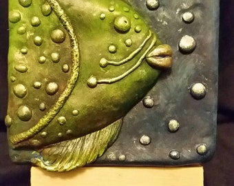 Green Fish. 3D polymer clay relief nautical art tile (OOAK).  Hand sculpted, hand painted. (Polymer clay)
