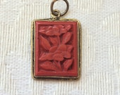 Ambers Vintage Chinese Asian Carved Cinnabar Pendant Filigree Back Antique