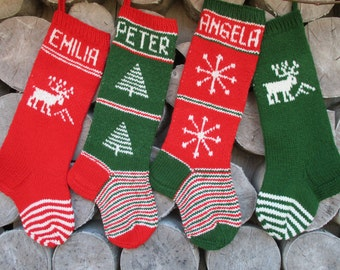 Hand knit Christmas Stocking Red Dark Green White with Tree Snowflakes Stripes Christmas decoration Christmas gift