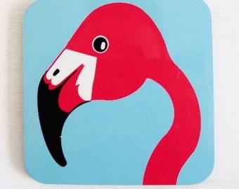 Miss Flamingo Coaster - Drinks Coaster - Animal Coaster