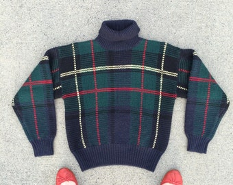 90s Medium wool green plaid knit sweater Charter Club vintage fashion