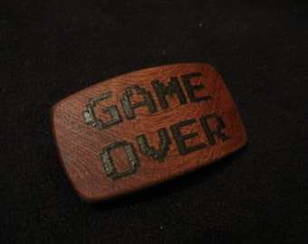 Game Over - 8-Bit Wood Hair Barrette