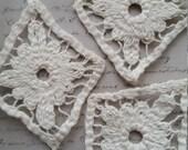3 Vintage Antique White Knit Lace Medallion Appliques