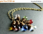 VALENTINE SALE Clear Teardrop Cluster Necklace in Bronze with Rainbow Charms. Handmade Jewelry.