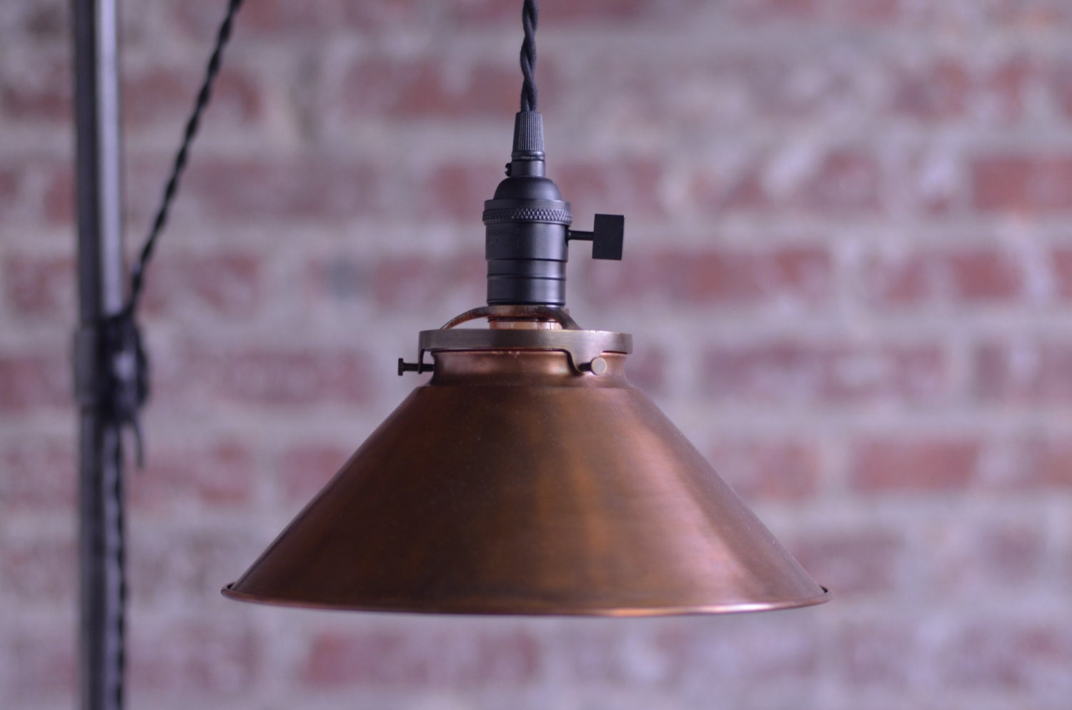 Pulley Floor Lamp Copper Shade Edison Bulb By