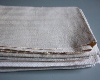 set of 5 vintage damask linen towels , pure linen damask