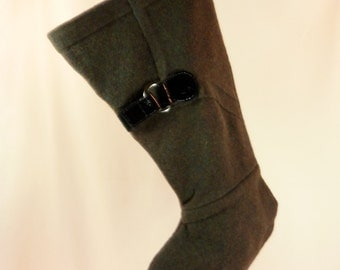 Christmas Stocking//Felt//Felted Wool//Green//Patent Leather//Recycled//Repurposed 357