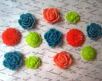 Resin Flowers, 12 pcs Bright Coral, Teal and Lime Green Cabochon Flowers, Resin Roses, Dahlias, Sakura, No Holes