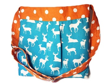 Baby Boy Diaper Bag in Turquoise Deer and Orange Dot - The Parker