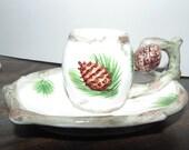 Vintage Lefton Retro Ceramic Rustic Christmas Candle Stick Holder plus candle Xmas Pine pinecones