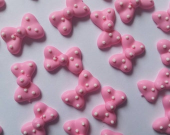 Light pink polka dot bows: 12 pieces -- Edible cupcake toppers cake decorations cake pops Minnie Mouse