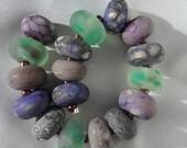 Handmade Glass Artisan Lampwork Beads Set Strand (17) Etched SRA