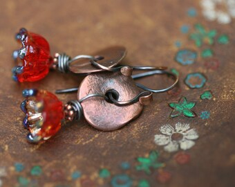 Rustic Artisan Lamp work Flower *Flourishes*  earrings n165 - head pin flower lamp work . boho bohemian . artisan glass . simplistic boho