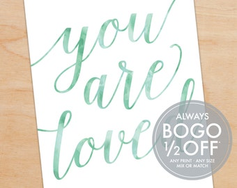 You Are Loved Print, Watercolor, Script, Personalized Art Print, Gift for the Couple, Wedding Gift, Anniversary Gift