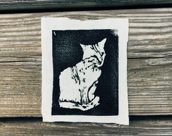 Cat Drawing // Back Patch // Punk Patch // Relief Print // Linocut // Kitty // Feline
