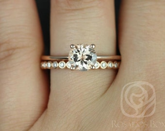 Skinny Alberta 7mm & Petite Bubbles 14kt Rose Gold Round Morganite and Diamond Tulip Wedding Set (Other metals and stone options available)