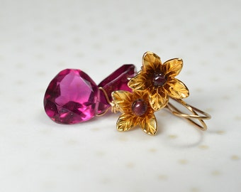 Pink tourmaline earrings Gold vermeil flower earrings Tourmaline drop earrings Rubellite quartz gemstone teardrop earrings Dangle earrings