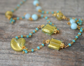 Aqua Murano glass necklace Long gemstone necklace Beaded rosary chain necklace Amazonite green chalcedony Venetian jewelry Summer fashion
