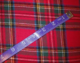 "Christmas Plaid, Royal Stewart Tartan, Red Plaid, Yarn-Dyed Cotton Flannel Fabric, 56"" Wide, By the Yard or the Half Yard"