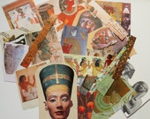 Mini collage kit, egyptian style, paper goods, magazine/ book  clippings, theme coordinated, art journal supplies, decoupage, scrapbooking