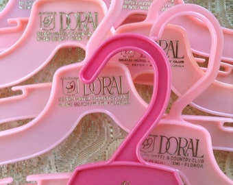 Clothes Hangers Miami Beach Travel Souvenirs from The Doral Beach Hotel Country Club Florida Flamingo Pink Plastic Closet Accessories