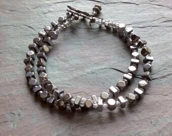 "Hematite Bracelet / Double Strand / Light Blue Crystals / Gunmetal Toggle Clasp / Gunmetal Charm - 7"" long - B83"