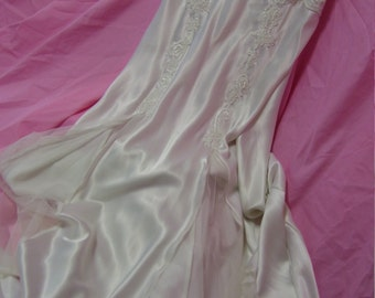 White Liquid Long Satin Nightgown Victoria Secret Bridal Honeymoon Lingerie