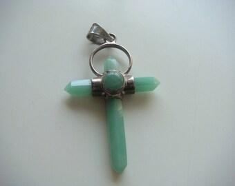 Lovely Green Jadeite Cross